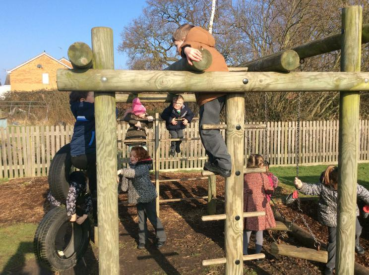 Climbing, balancing and helping our friends