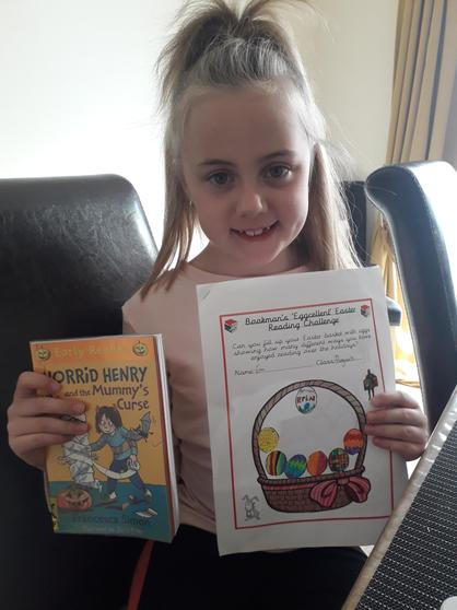 Erin working towards the Easter reading challenge
