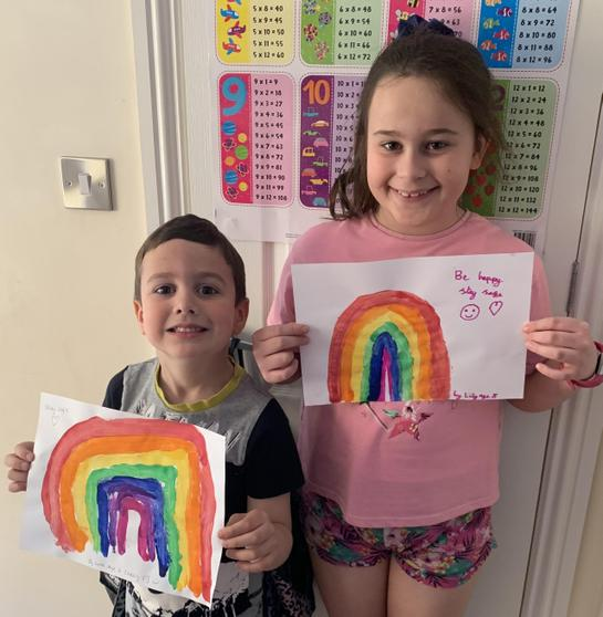 Lily and Luke showing us their fantastic rainbows