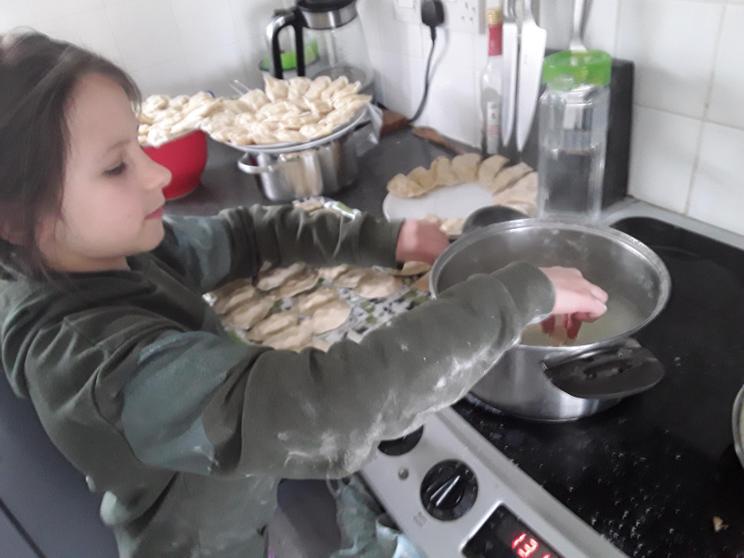 Cooking the dumplings.