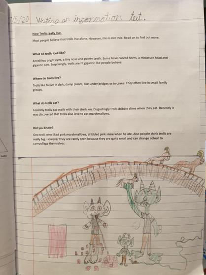 Lucy has worked very hard on her information text