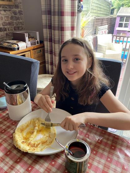 Louisa with her birthday pancakes.