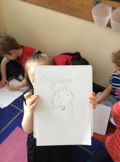 We drew portraits of the Queen.
