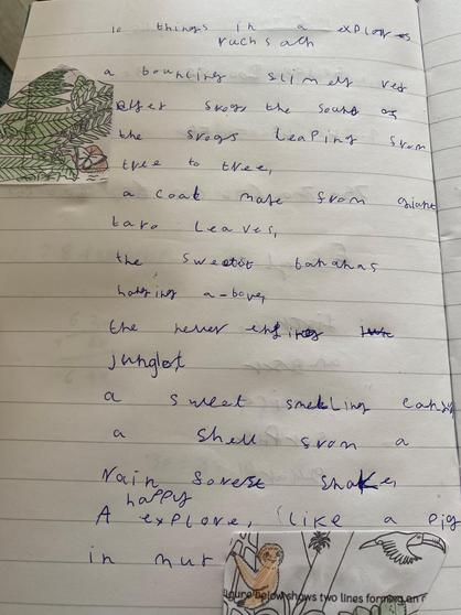 Jake's jungle explorer poem!