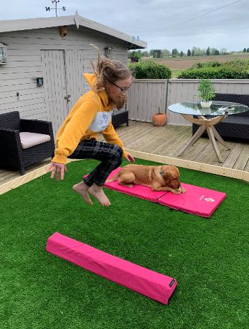 Emily practising her gymnastics.