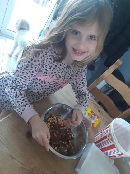 Pudding for the family made by Sophia