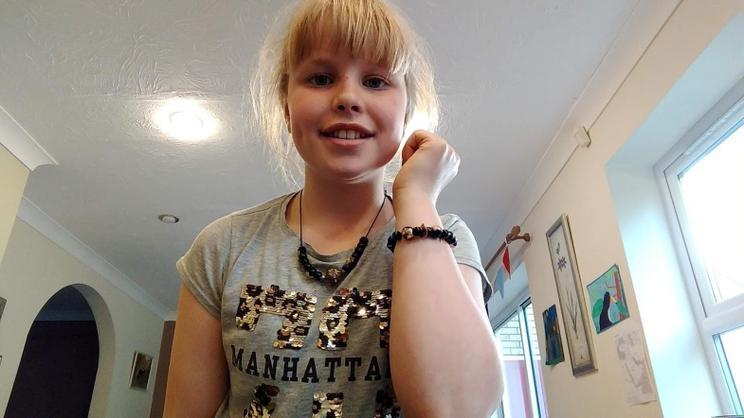 Fiona wearing her home-made jewellery.