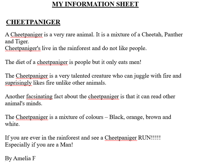 Amelia's information text.
