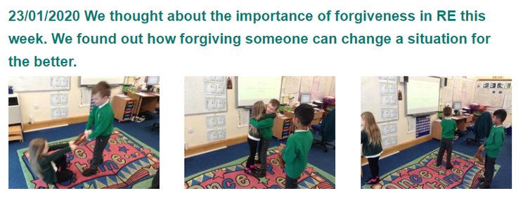 Year 2- RE task on forgiveness
