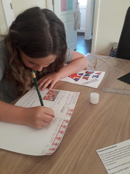 Erin working on her VE Day booklet