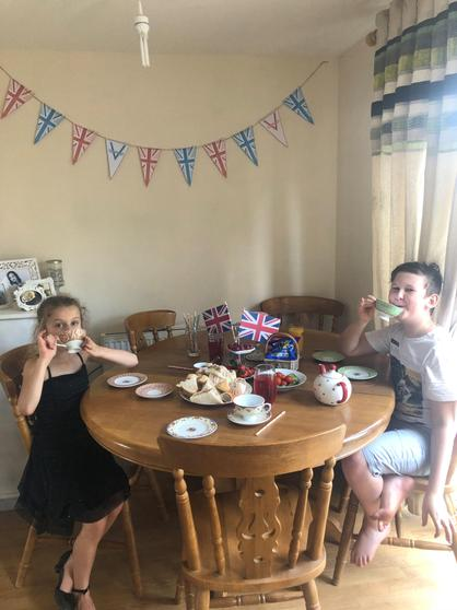Imogen and her brother celebrating VE Day