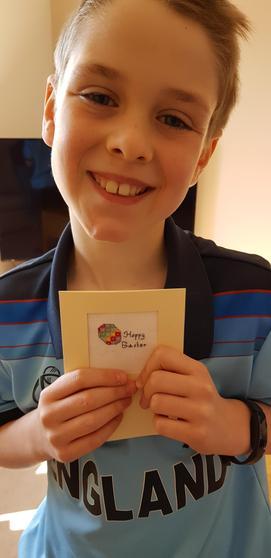 Ryan made an Easter card.