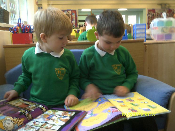 We read books by ourselves and with others.