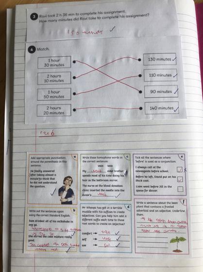 Kameron's maths and English work.