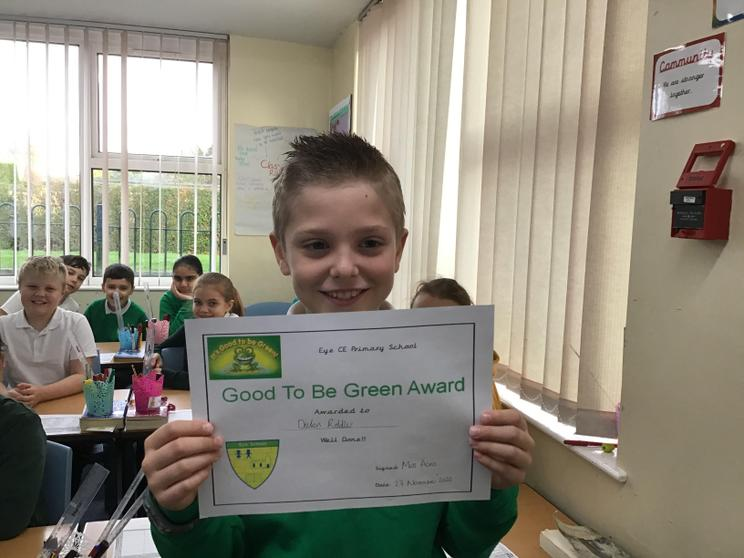 Declan winning the Good to be Green Award