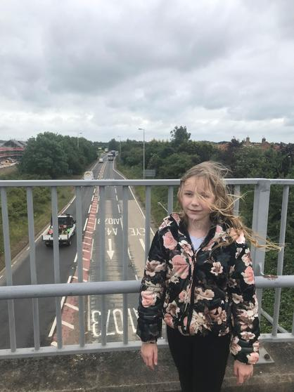 Lily seeing where the railway used to be.
