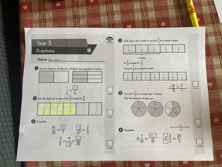 Louisa's great fractions work.