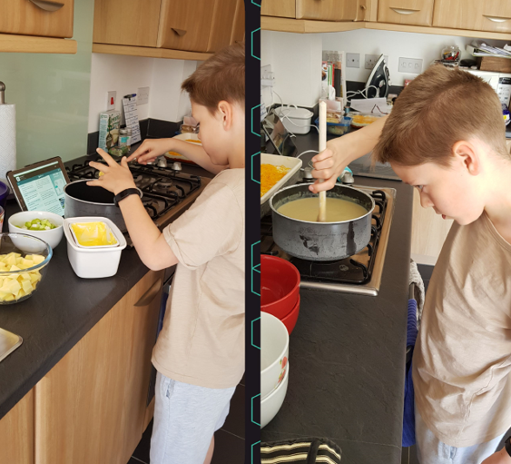 Ryan making Leek and Potato Soup.