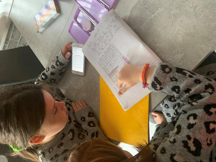 Evie & Isla working together on their French work