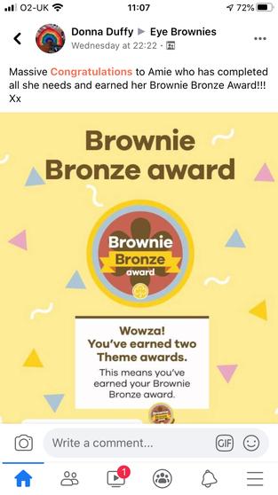 Amie achieved her bronze brownie award.
