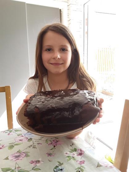 Laura baked chocolate cake.