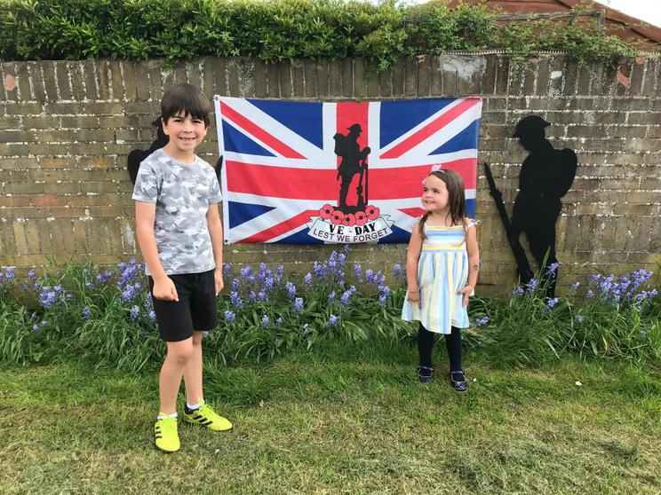 Oliver and his sister celebrating VE Day