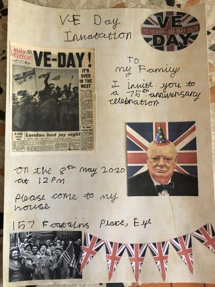 Joshua's VE day invitation