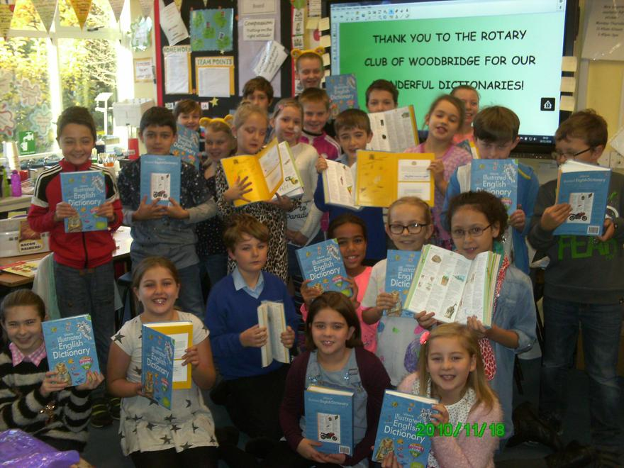 These fantastic dictionaries were presented to all our year 4/5s by the Rotary Club of Woodbridge.