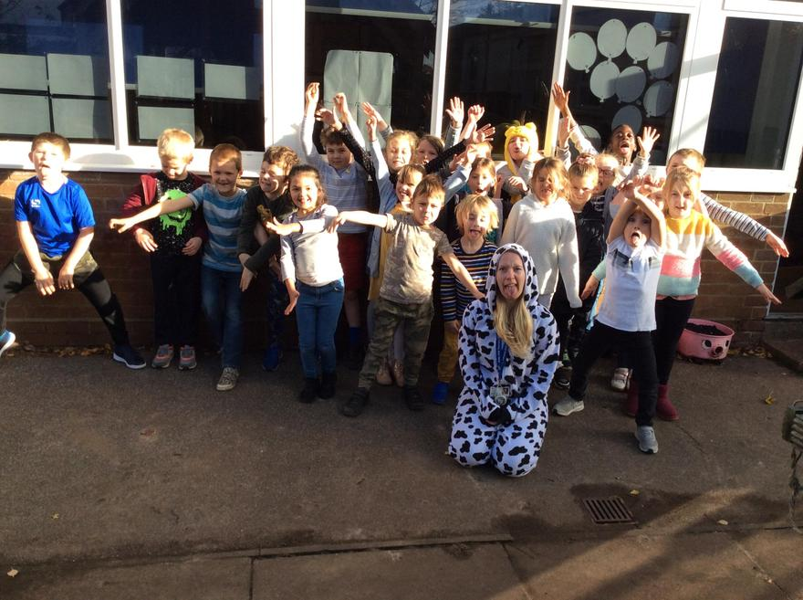 Cedar Class being silly for Children in Need