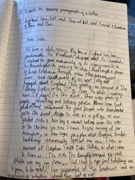 Windrush diary writing