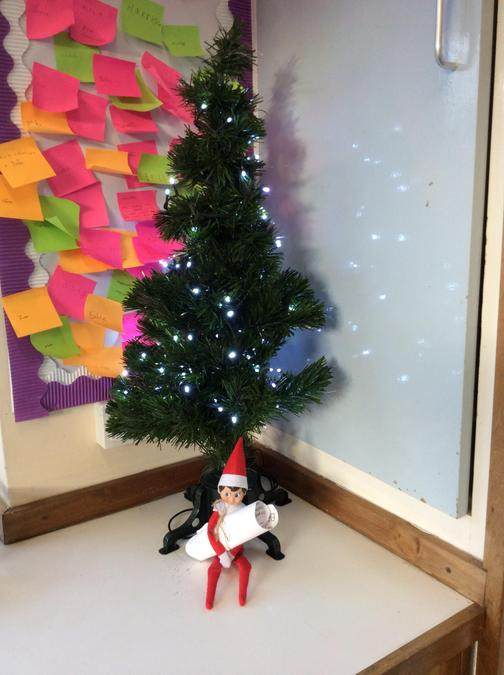 Today, our Elf appeared! He was under the Christmas Tree holding us a letter.