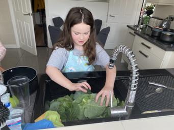 Home grown veg washing