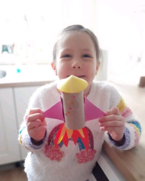 Ava created her own space rocket!