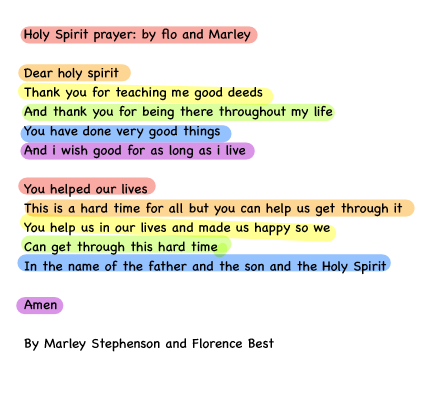 Marley and Florence's prayer.