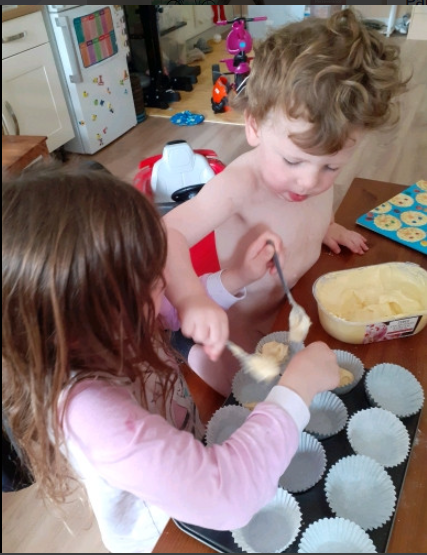 Ava has baked cakes with her brother this week!