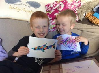 Oscar Wardle Home Learning with his brother!