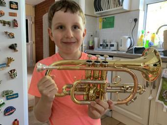 Edward has been learning the cornet!