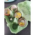 Owen had been making egg crystals.