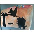 Fantastic dinosaur silhouettes.