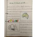 Alex's super poster about Australia