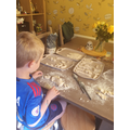 Salt dough dinosaur bones.