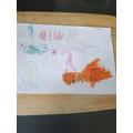Harper has drawn an ocean picture.
