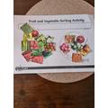 Harper sorted the fruit and veg.