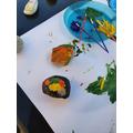 Owen painted a rock.