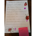 Harper wrote out a ladybird poem.