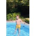 Anthony enjoying the swimming pool.