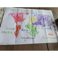 Owens map of the world with continents.