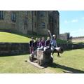 A sunny gun terrace at Alnwick Castle.