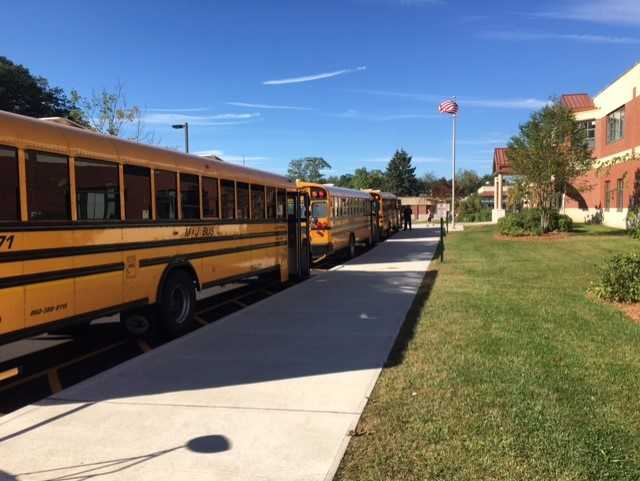 School buses take the children to school each day