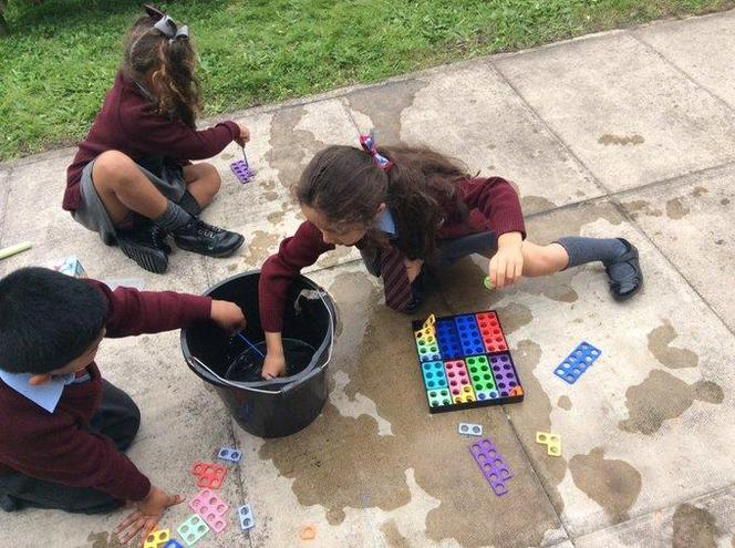 We used paintbrushes and water to count our numicon holes and make numbers to 10!